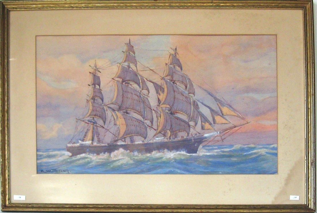 Arthur W. Metcalf watercolor marine scene with clipper