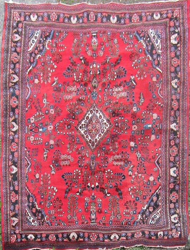 """Old Persian Oriental carpet, 12�3"""" by 9'. Condition:"""