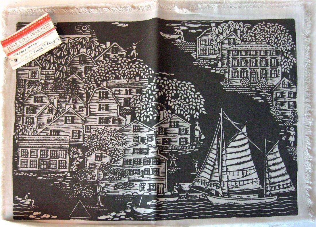 Set of 4 Louise Kenyon Folly Cove block prints,