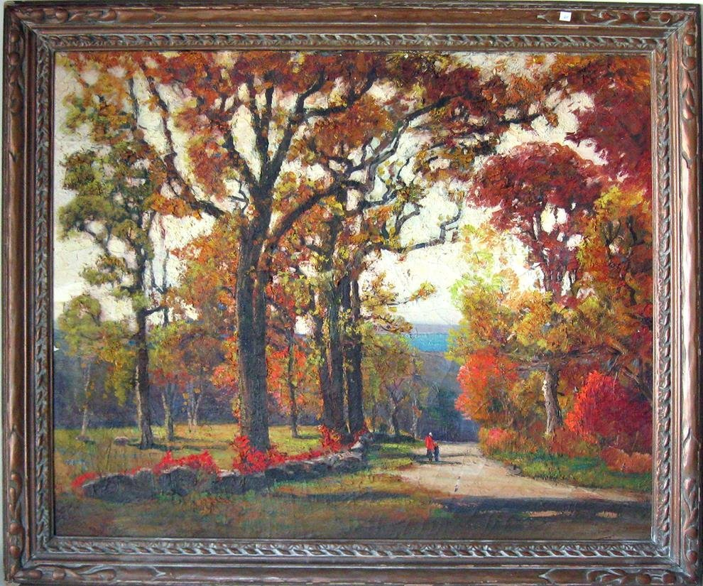 """*Anthony Thieme oil on canvas, """"Autumn Leaves Pigeon"""
