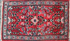 Old Oriental scatter rug 32 by 18 inches Condition
