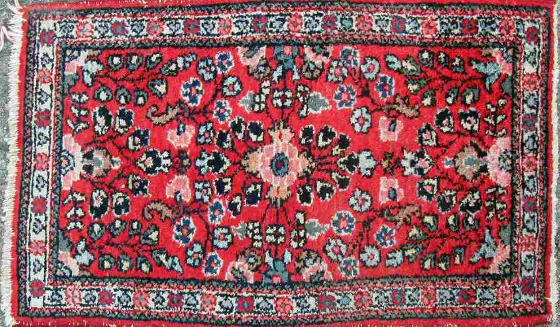 Old Oriental scatter rug 32 by 18 inches. Condition: