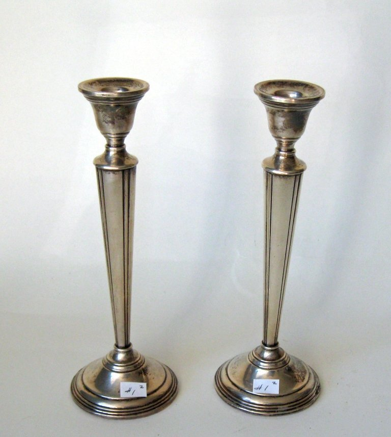 Pair of Cartier #745 Sterling silver candlesticks, 10
