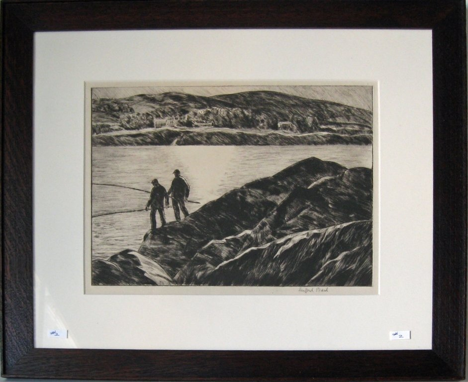 Gifford Beal etching of fishermen on the Headlands,