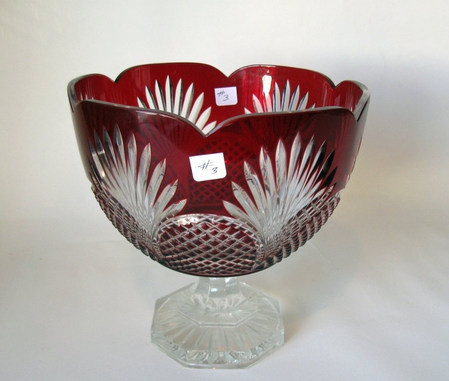 Fine Ruby overlay glass compote, 9 inches tall.