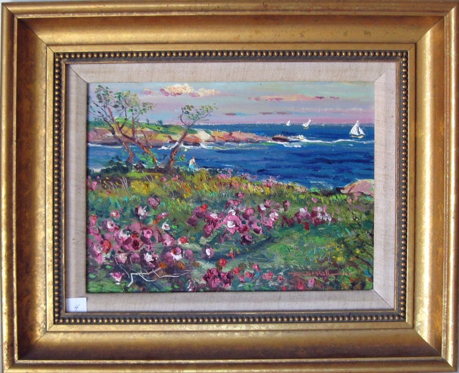 """Wayne Beam Morrell oil on board, """"Roses by the Sea,"""" 9"""