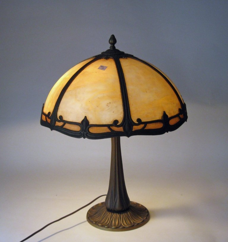 Table lamp with slag glass shade. Condition:  good.