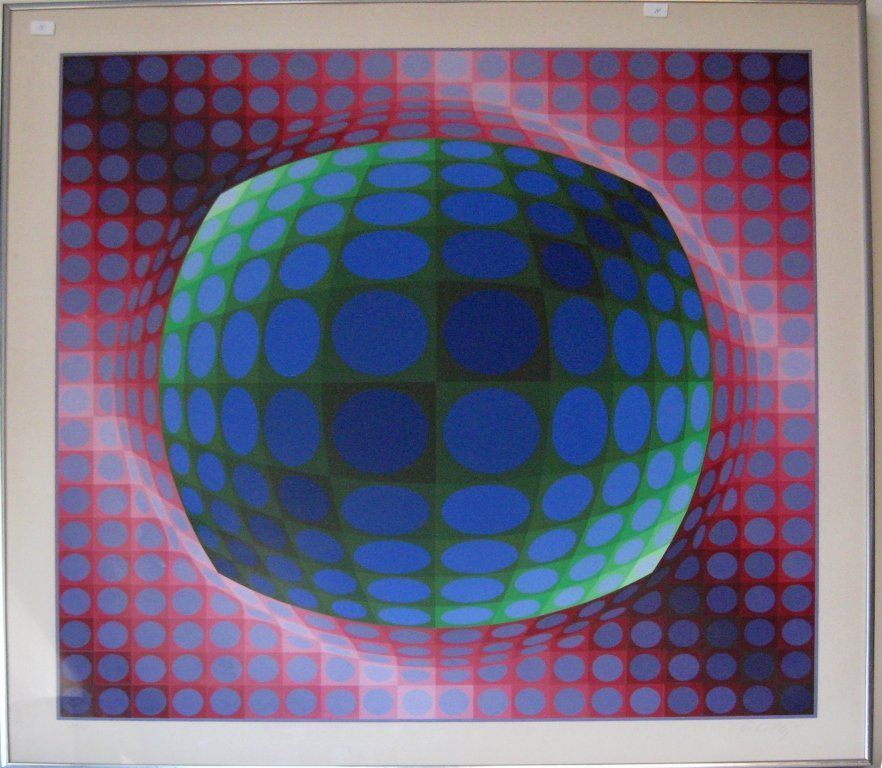 """Victor Vasarely serigraph, """"Enimes C,"""" 31 by 31 inches"""