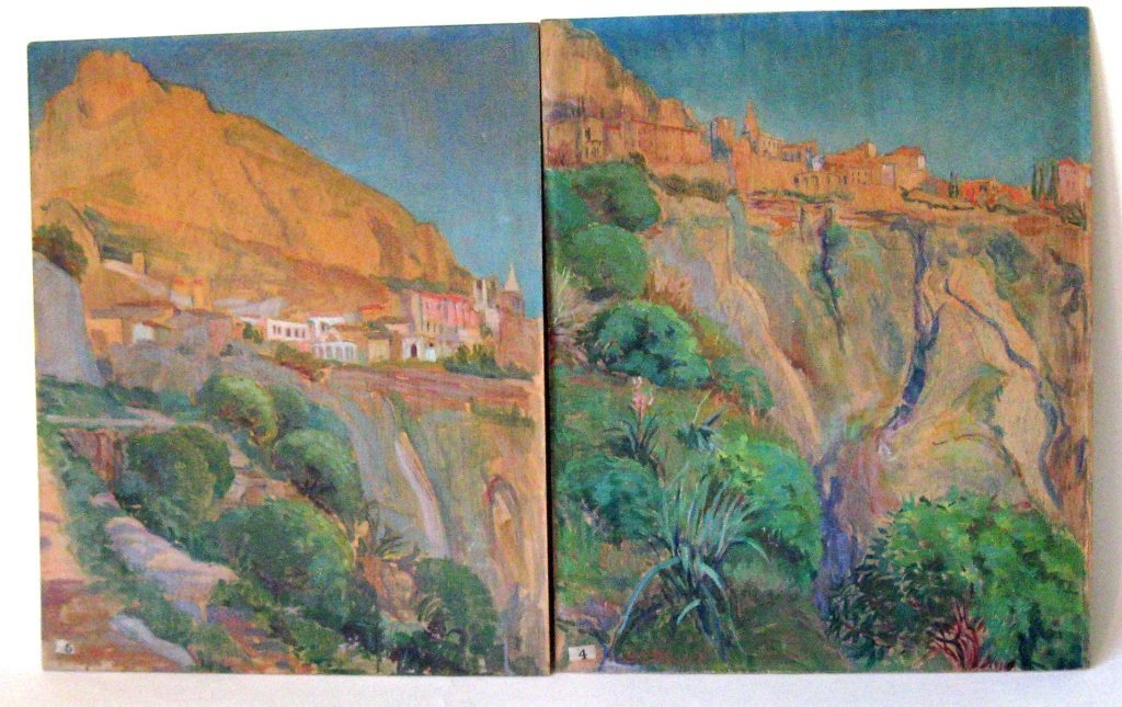 Lot of 2 Gertrude Stanwood oil on board sketches of