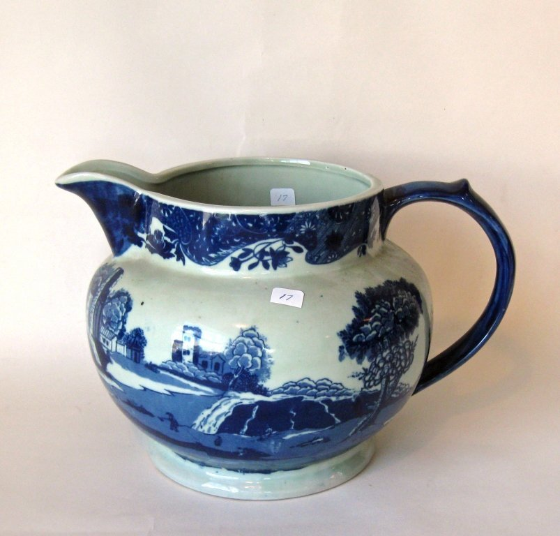 Over size 19th century colored ironstone pitcher, 9