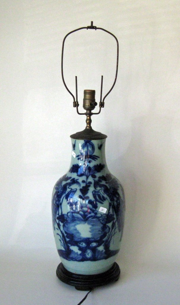 Chinese porcelain vase converted to lamp, 16 inches