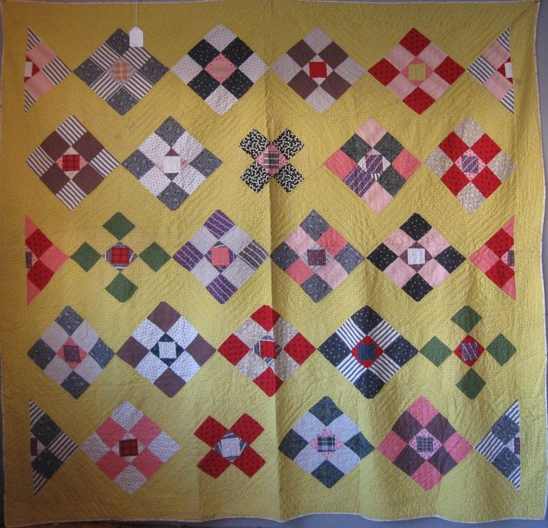 1890s Nine patch patchwork quilt, 83 by 83 inches.