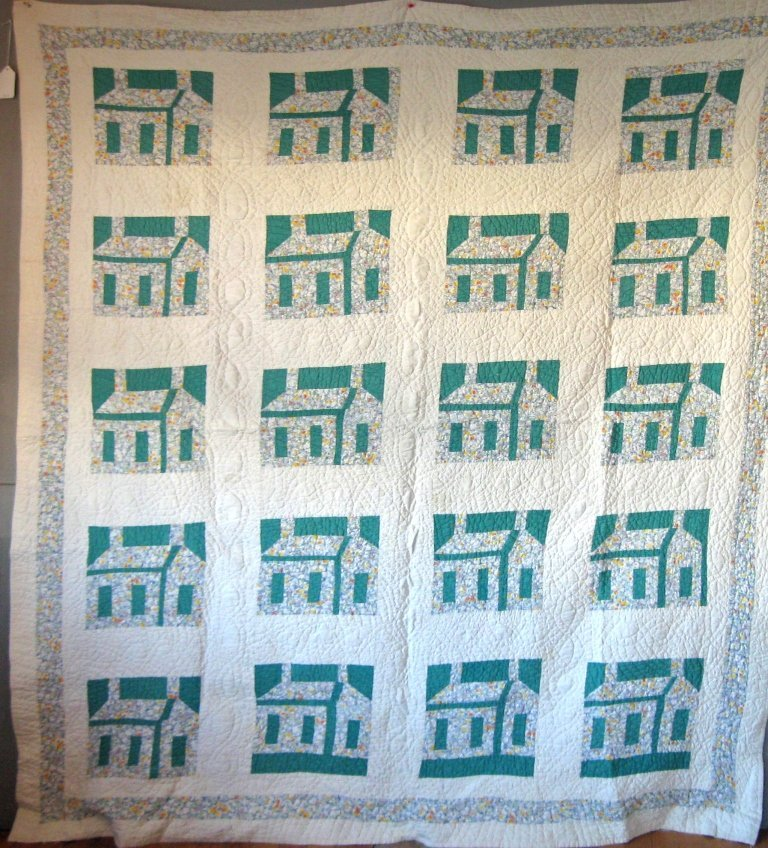 House quilt, 70 by 82 inches. Condition: good.