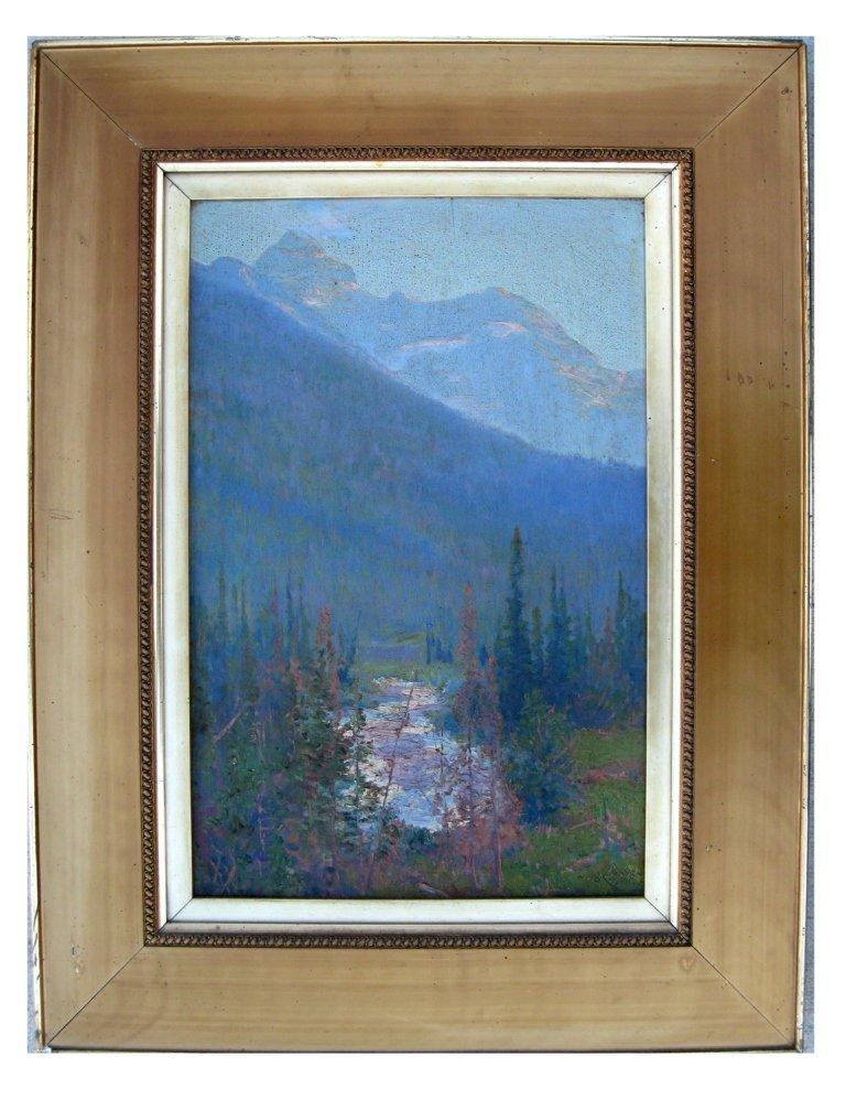 Walter Launt Palmer oil on board mountain landscape