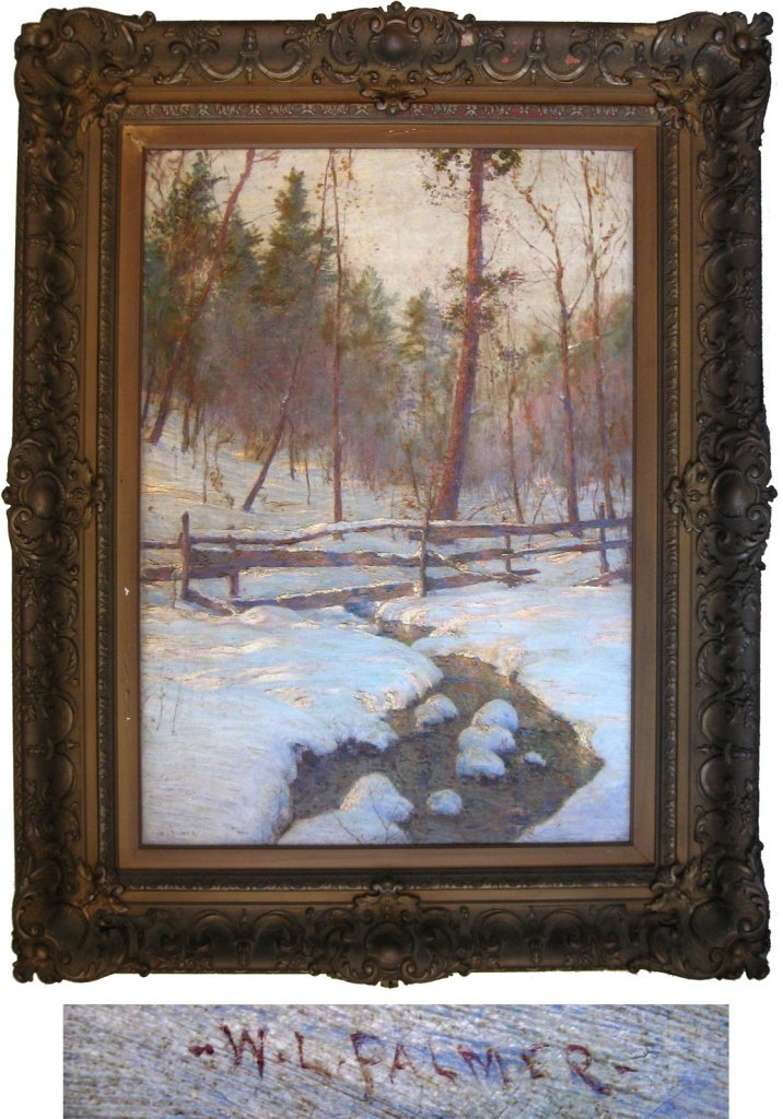 """*Walter Launt Palmer oil on canvas, """"Brook and Fence,"""""""