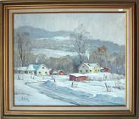 Otis Cook oil on canvas New England winter landscape