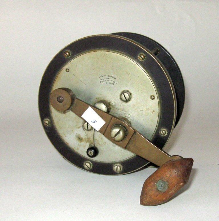Julius Von Hof fishing reel, 5 inch diameter, Pat Nov.