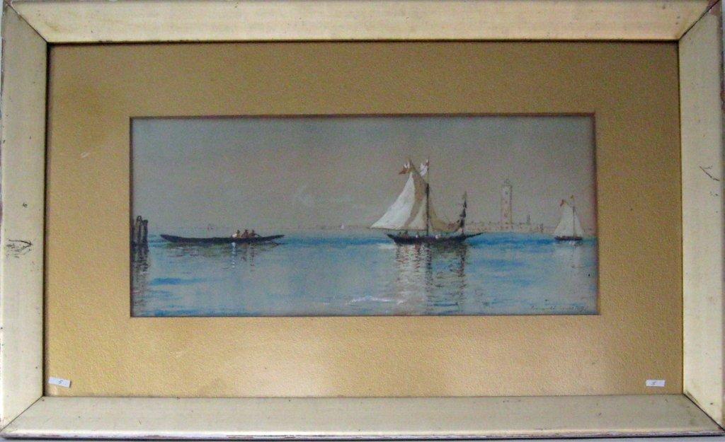Edmund Darch Lewis watercolor and gouache marine scene