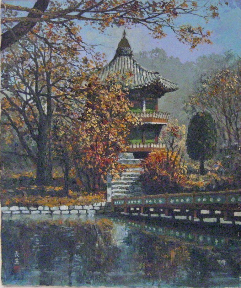 Japanese oil on canvas landscape with pagoda, 18 by