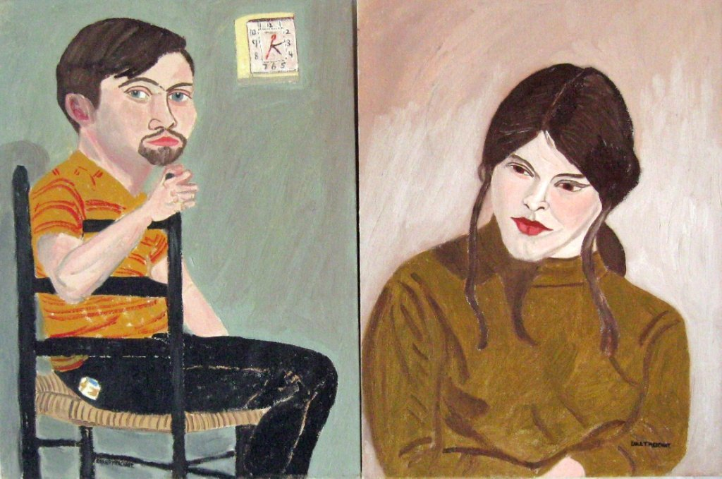 "Lot of 2 Earl T. Merchant oil portraits, ""Janice"