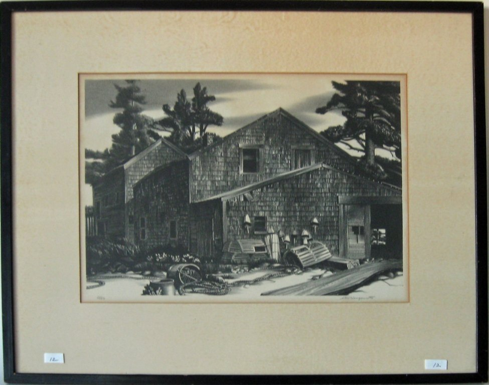 """Stow Wengenroth lithograph, """"House at Port Clyde,""""10.5"""