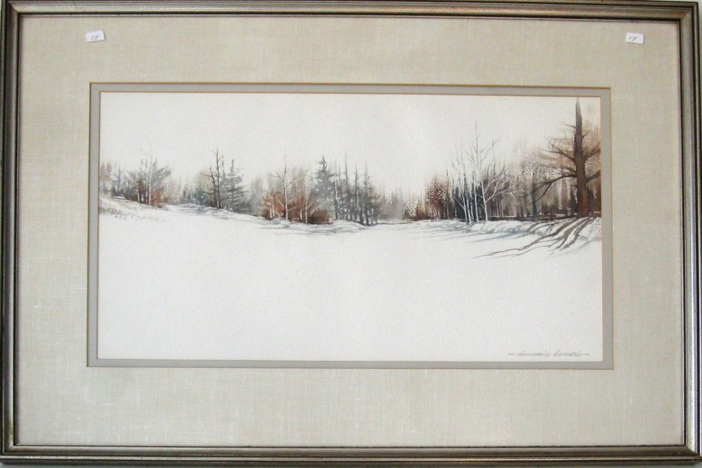 Dominic Demeri watercolor winter landscape, 12 by 23
