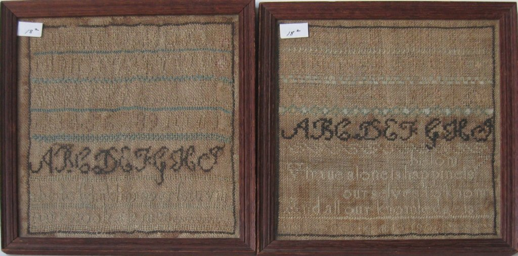 Lot of 2 19th century samplers, largest 8 by 7.5