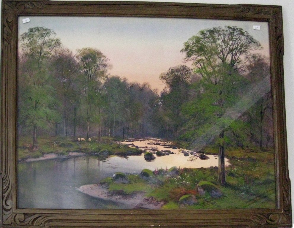 John Baragwanth King watercolor wooded landscape, 19.5