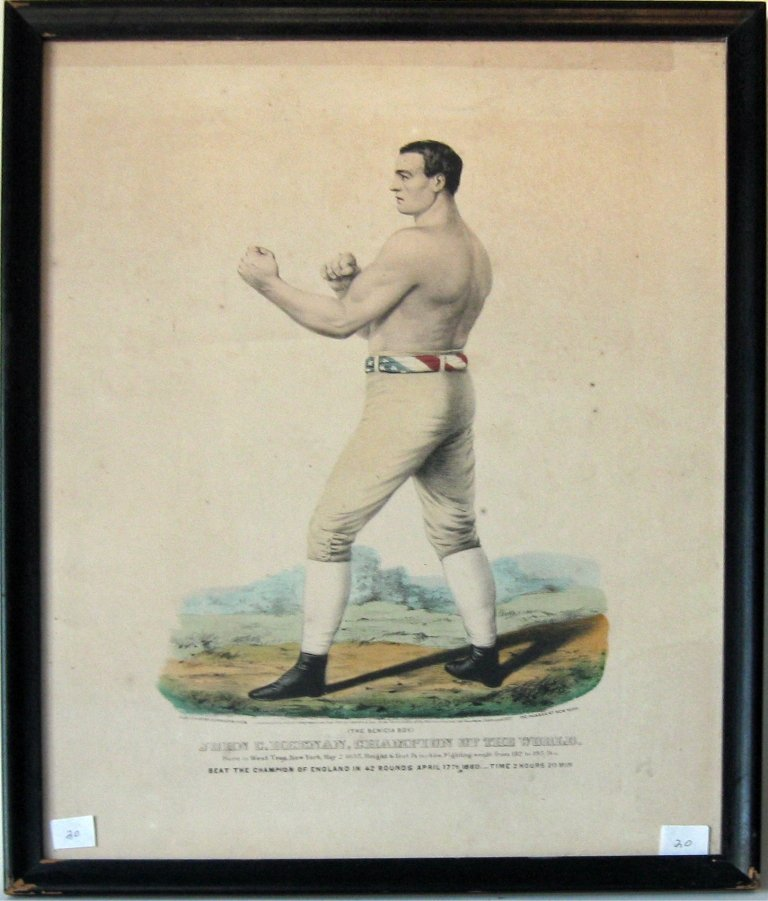 """Currier and Ives lithograph, """"John C. Heenhan, Champion"""