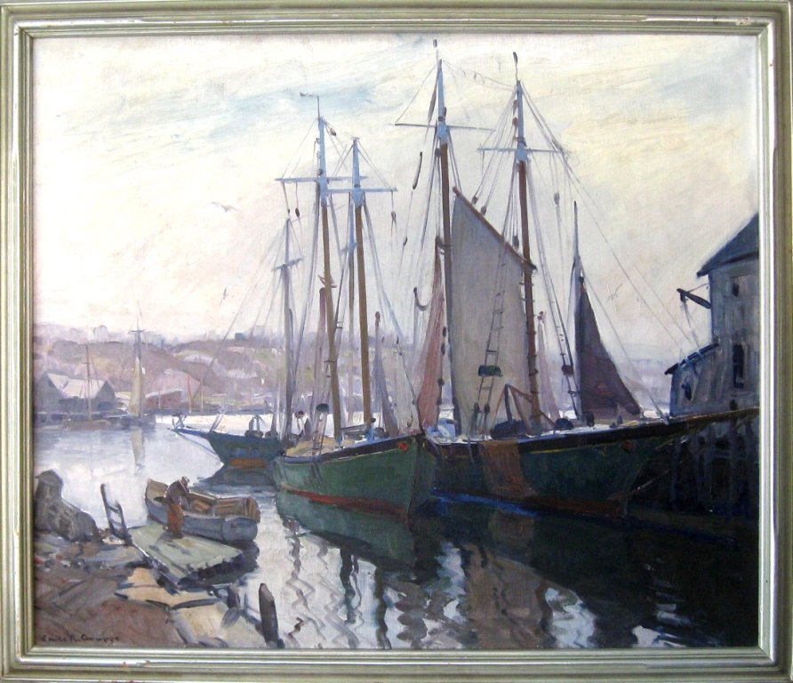 """*Emile A. Gruppe oil on canvas, """"Morning Gloucester"""