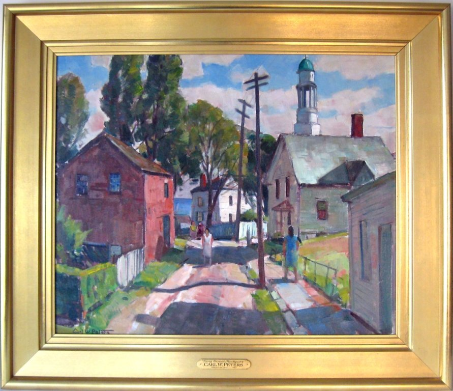 """*Carl W. Peters oil on canvas, """"King St. Rockport,"""""""