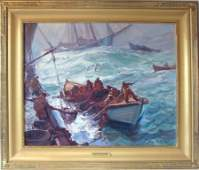 Emile A Gruppe oil on canvas Bailing the Fish 25