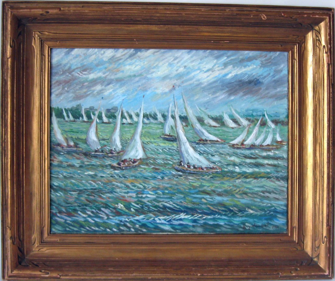 *Reynolds Beal oil on canvas sailboat race, 16 by 20