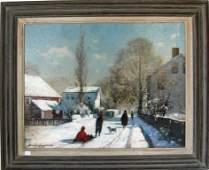 J Bradford Hague oil on board winter street scene 20
