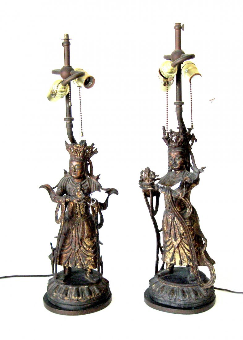 Pair of antique Ming style Chinese gilt bronze guardian