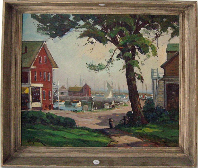 Otis Cook oil on canvas view of Motif #1, 18 by 20