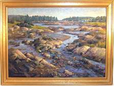 Donald Allen Mosher oil on canvas shore scene 26 by 36