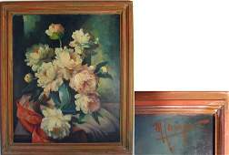 Maurice Compris oil on canvas floral still life, 30 by