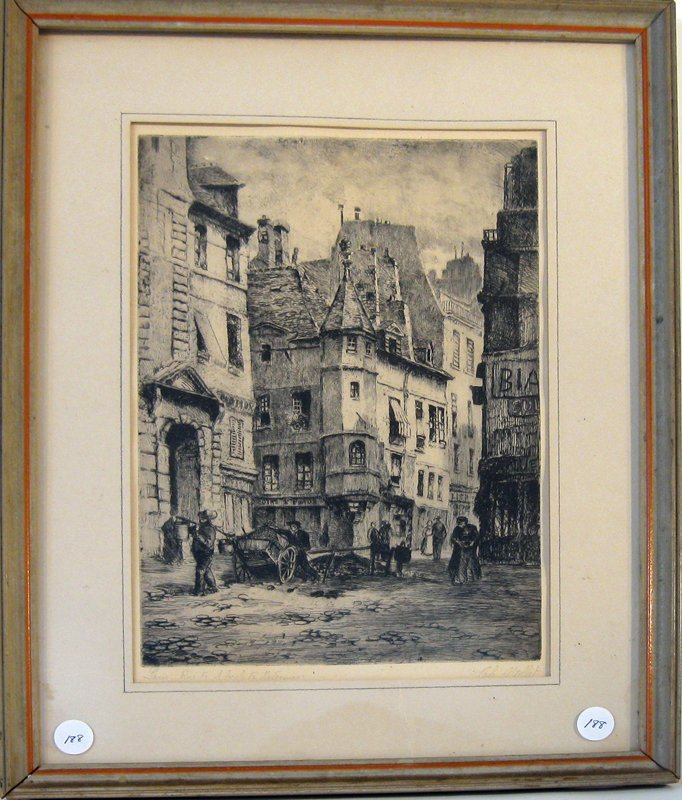 Charles Nollet Paris etching, 12 by 8.25 inches, signed