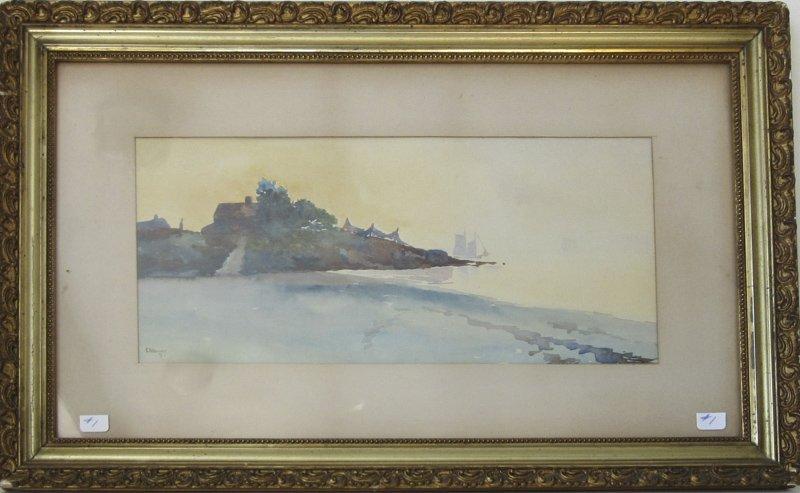 Edward A. Harvey Luminist watercolor shore scene with