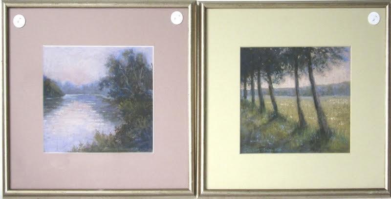Lot of 2 Elizabeth Mowry pastel landscapes, largest 8.5