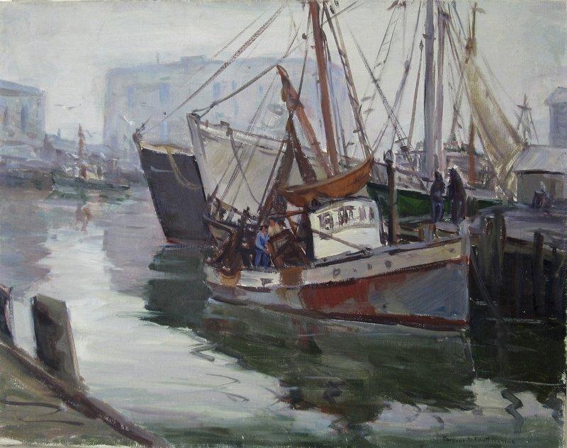 Marguerite Elliot Peaslee oil on canvas harbor scene,