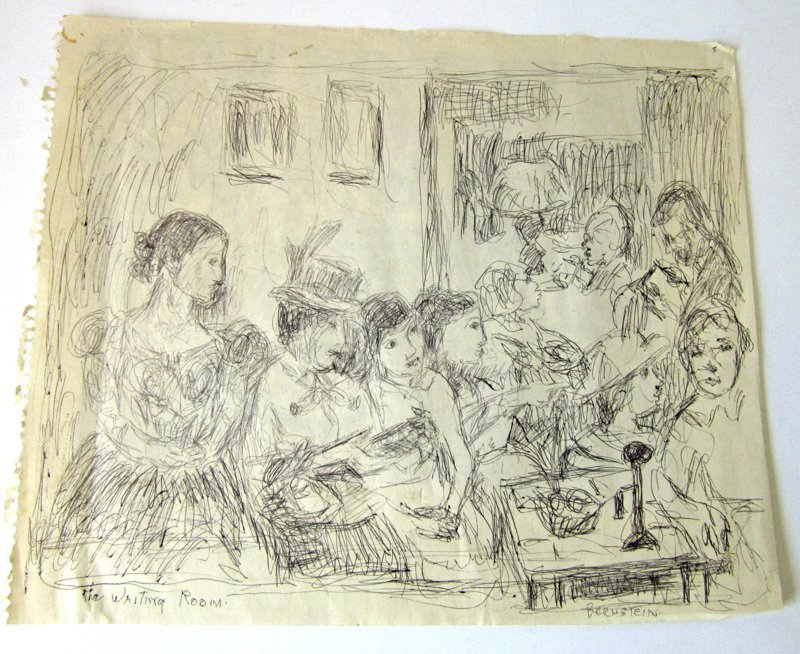 """Theresa Bernstein pen and ink sketch, """"The Waiting"""
