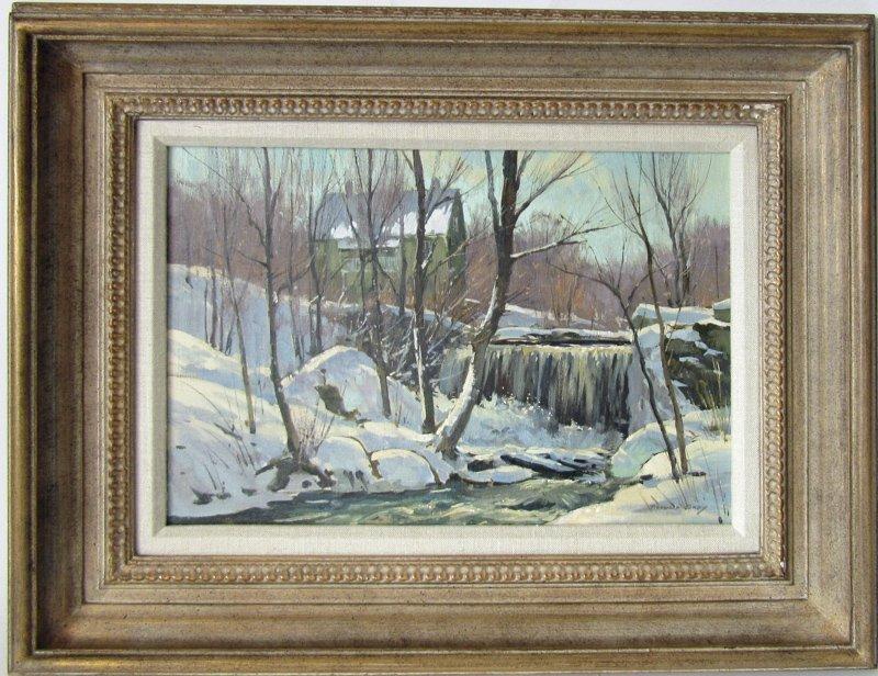 Bernard Corey oil on board winter landscape with