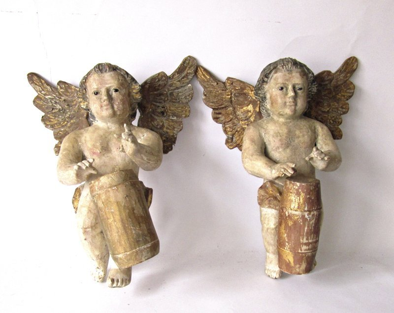 Pair of antique probably Italian polychrome