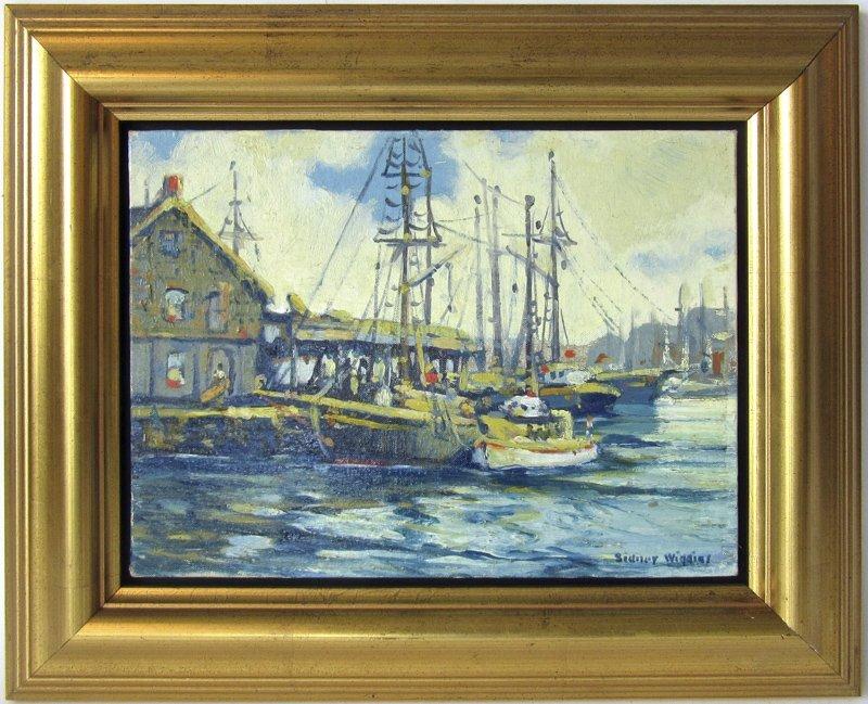 """Sidney Wiggins oil on board, """"Gloucester Fishing"""