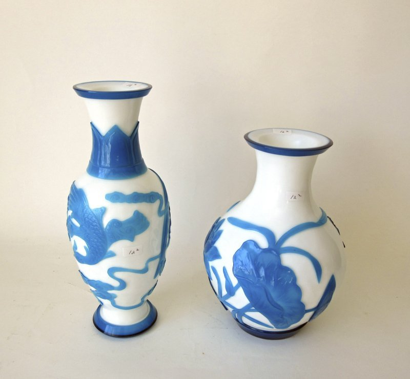 Lot of 2 Chinese Peking glass turquoise overlay glass