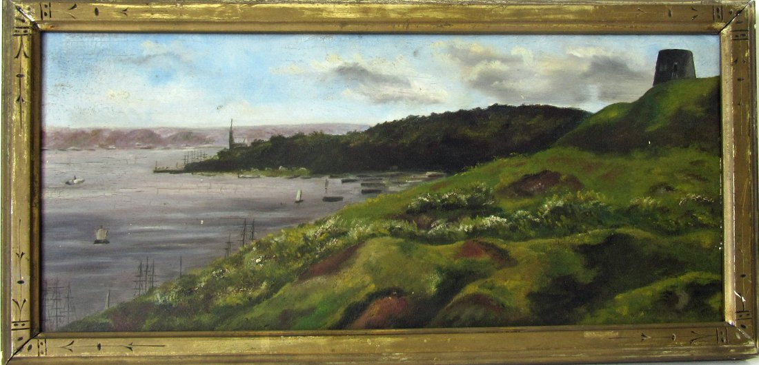 19th century oil on board harbor scene with fort and