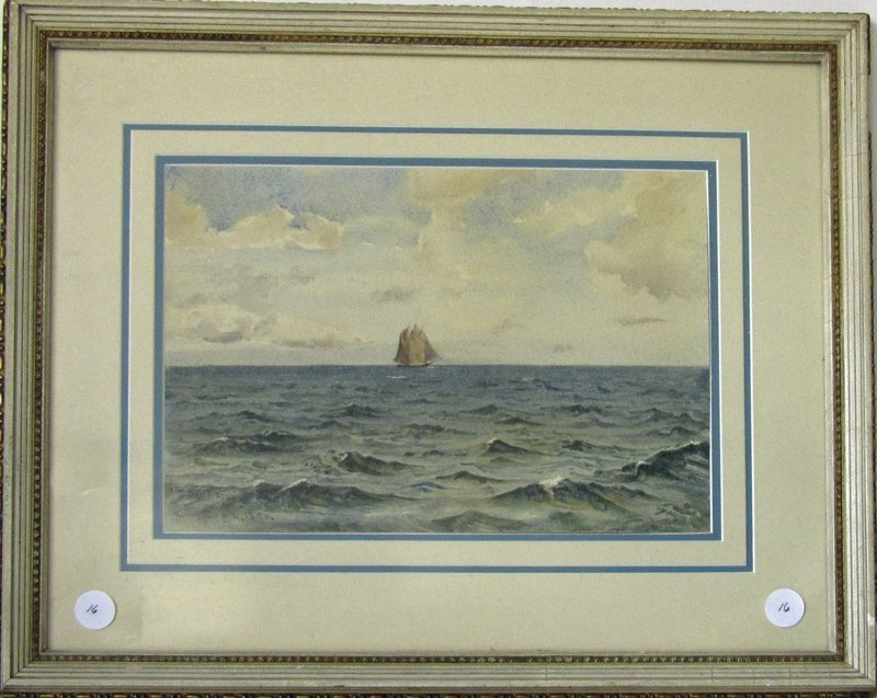 Indistinctly signed watercolor marine scene with