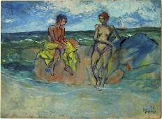 Lou Burnett oil on board shore scene with swimmers 18